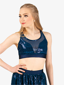 Womens Performance Glitter Swirl Tank Bra Top