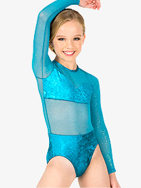 Girls Performance Velvet Long Sleeve Leotard
