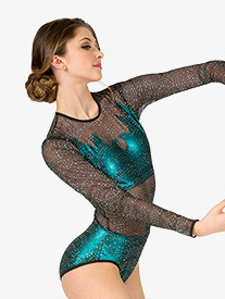 Womens Performance Glitter Mesh Long Sleeve Leotard