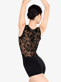 Adult Lace Back Tank Shorty Unitard