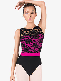Adult Two-Tone Tank Leotard with Lace Bodice