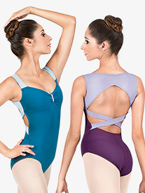 Adult Two-Tone Crisscross Back Tank Leotard