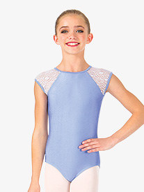 Girls Lace Back Cutout Cap Sleeve Leotard