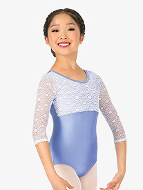 Girls Lace 3/4 Sleeve Leotard