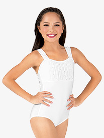 Girls Heart Mesh Gathered Front Tank Leotard