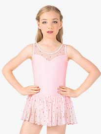 Girls Heart Mesh Tank Dress