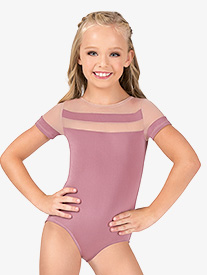 Child Striped Mesh Cap Sleeve Leotard