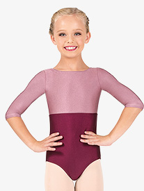 Girls Nylon Boatneck 3/4 Sleeve Leotard