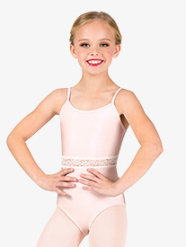Girls Lattice Back Lace Insert Camisole Leotard