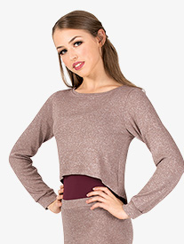 Womens Full Zipper Cropped Warm Up Sweater