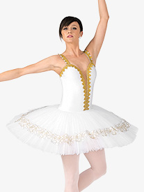 Womens Genia Gold Trim Professional Platter Tutu Dress