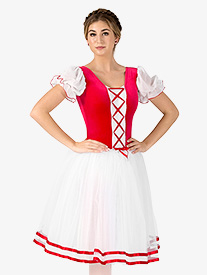 Girls Coppelia Short Sleeve Peasant Costume Dress