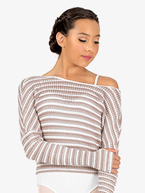 Womens Striped Knit Warm Up Long Sleeve Sweater