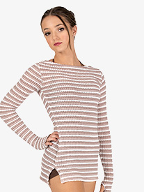 Womens Striped Knit Warm Up Long Sleeve Tunic