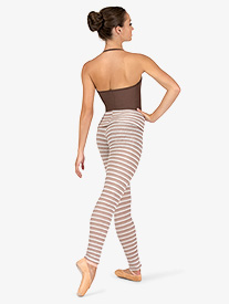 Womens Striped Knit Warm Up Roll Down Leggings