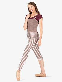 Womens Striped Knit Warm Up Camisole Overalls