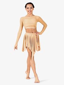 Womens Lyrical Flow Collection Short Asymmetrical Skirt