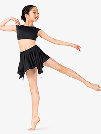Girls Lyrical Flow Collection Short Asymmetrical Skirt