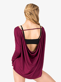 Womens Workout Cowl Back Long Sleeve Top