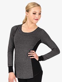 Womens Workout Mesh Side Insert Long Sleeve Top