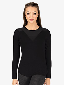 Womens Workout Mesh Insert Long Sleeve Top