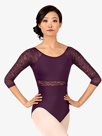 Adult Floral Lace 3/4 Sleeve Leotard