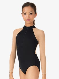 Child Mesh Long Sleeve Zip Front Leotard