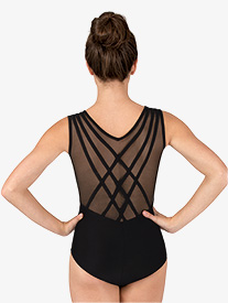 Womens Mesh Back Binding Tank Leotard