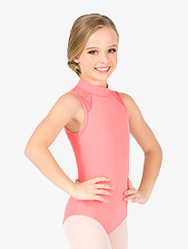 Girls Floral Mesh Mock Neck Tank Leotard