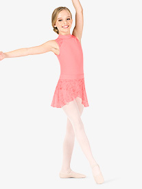 Girls Floral Mesh Pull-On Ballet Skirt