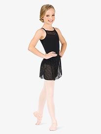 Girls Flower Mesh Wrap Ballet Skirt