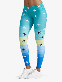 Womens Mint Bird Print Fitness Leggings