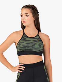 Womens Kelly Camo Print Camisole Sports Bra