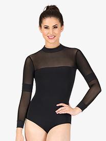 Womens Raven Mesh Long Sleeve Workout Bodysuit