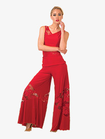 Womens Floral Lace Insert Palazzo Ballroom Pants