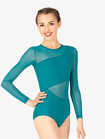 Womens Asymmetrical Mesh Long Sleeve Leotard