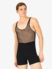 Mens Dance Mesh Tank Shorty Unitard