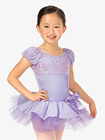 Child Short Sleeve Bustled Sequin Tutu Costume Dress