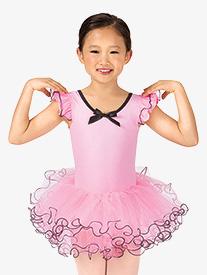 Child Curly Hem Flutter Sleeve Tutu Costume Dress