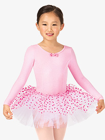 Child Velvet Heart Long Sleeve Tutu Dress