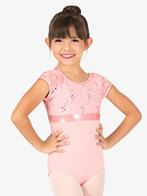 Girls Sequin Lace Cap Sleeve Leotard
