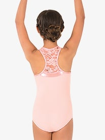 Girls Sequin Lace Tank Leotard