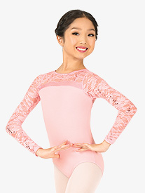 Girls Sequin Lace Long Sleeve Leotard