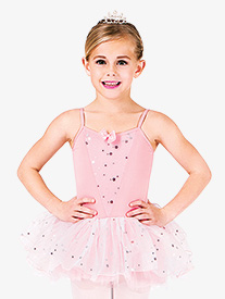 Child Glitter Flower Camisole Tutu Dress