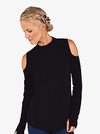 Womens Cold-Shoulder Long Sleeve Workout Top