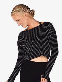 Womens Striped Long Sleeve Fitness Tee