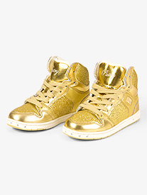Kids Glam Pie Glitter Gold Sneakers