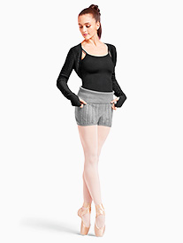 Womens Cable Knit Foldover Warm Up Shorts