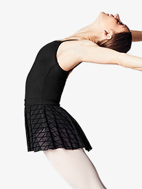 Womens Diamond Flock Mesh Short Ballet Skirt