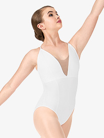 Womens Deep V Mesh Leotard